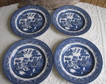 Blue Willow Salad Plates Churchill Set of Four (4) Vintage Dinnerware and Replacements