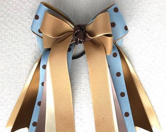 Horse Show Bows, Beautiful Blue Brown Equestrian clothing, gift, Bowdangles Show Bows