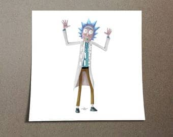 Rick Sanchez Poster Design from Rick and Morty with his famous catch phrase Wubba Lubba Dub Dub. Shown on Adult Swim on Cartoon Network