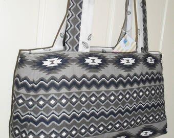 """Aztec"" print cotton fabric Messenger bag"