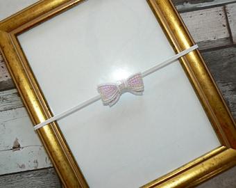 White Sequin bow baby headband