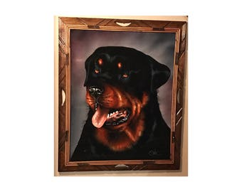 Vintage 80s signed ROTTWEILER Velvet Painting! Excellent condition!