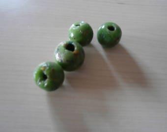 Set of 4 printed glass beads