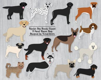 Dog Clipart Popular Dogs Breeds French Bulldog Labrador Dachshund Rottweiler Dalmatian Boxer Pug Poodle Husky Yorky Pet Clipart Graphics