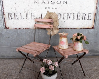 RESERVED LISTING for LYDIA,  Pink garden chair and  stool ,   1:12