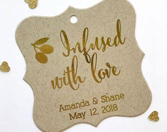 Infused With Love Color Foil Tags, Wedding Favor Tags, Infused Love Wedding Hang Tags  (FS-083-FKR)