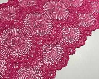 "HOT PINK Galloon Stretch Lace 8"" Wide Bra Lace, Underwear Lace, Lingerie Lace, Headband Lace, Hem Lace BTY By The Yard"