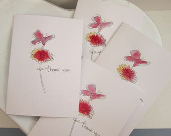 Set of 4, Thank You cards, watercolour cards, sympathy thank you, teacher thank you, pack of cards, butterfly cards, flower cards, thank you