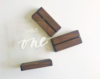Wedding Table Numbers - Table Signs - Acrylic - Hand Draw - Vinyl - Dark Walnut Stained Wood Stands - Shipped Anywhere in the USA