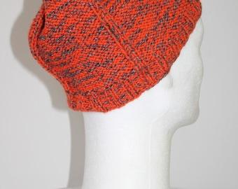 Reversible, Heather, mixed wool hat orange / dark grey