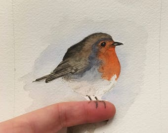 Original watercolor painting of a Robin red breast watercolor, wall decoration, love birds, nature lovers, Bird lovers
