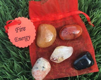 Fire Energy healing crystals - 5 tumbled stones - Passion - courage - connect to fire elements - gifts - Aries - Leo - Sagittarius