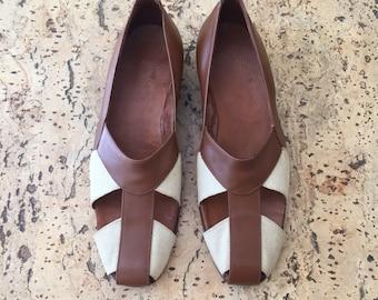 Vintage 1980's leather canvas shoes