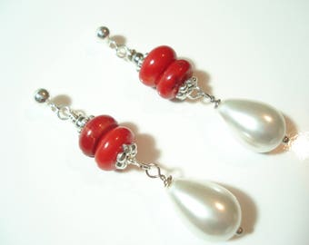 Red Coral White Tear Drop Pearl Sterling Silver Earrings Christmas Gift for Her Bamboo Corals and Pearls Unique Earrings