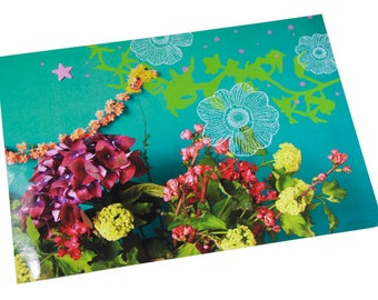 Laminated placemat on turquoise background hydrangea bouquet