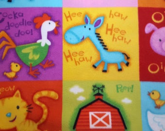 Alphabet Animals Patch Fleece Fabric sold by the yard
