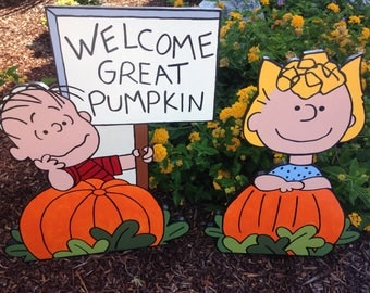 Peanuts Halloween Great Pumpkin Charlie Brown with Linus and Sally Wppd Garden Lawn Yard Art