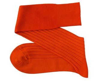 New Orange Men Over The Calf New Ribbed %100Cotton Lisle Casual Dress Solid Socks