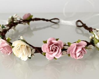 Blush Flower Crown, Ivory and Dusky Pink Flower Crown, Wedding Floral Crown, Boho Bridal Headdress, Flower Girl Garland, Blush Floral Crown