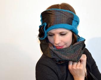 blue headband with satin