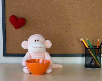 Sock Monkey Desk Accessory, Office Gift, Candy Dish, Desk Organizer,  Teacher Gift