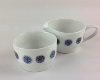 Hostess Tableware by British Anchor 'Celeste' Sugar Bowl and Creamer 1980s Blue & White Milk Jug and Bowl
