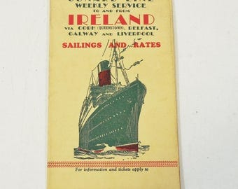Clearance - 1931 Cunard Line Sailings and Rates Brochure - Weekly Service to Ireland