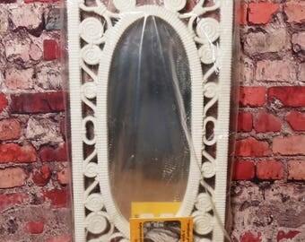Vtg 1977 Syroco Homco White Oval Accent Mirror- New, NOS Retro Shabby Chic 18x10