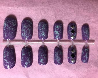 Purple Acrylic Nails Blue Fake Nails Turquoise False Nails Marbled Glue On Nails Studded Press On Nails