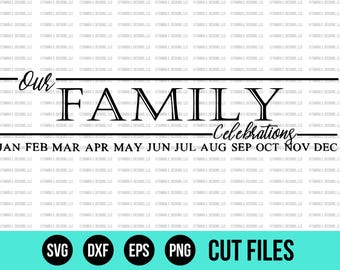 Family Birthday Board SVG - SVG Files - DXF - Cut File - Cricut Cut File - Silhouette Cut File - Wood Sign Design - Cuttable Files