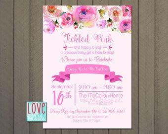 Baby shower Girl, Tickled Pink, Floral Pink PRINTABLE DIGITAL FILE - 5x7