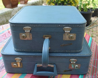 2 Vintage Blue Monarch Suitcases Blue Square Suitcase Deco Luggage Retro Train Case