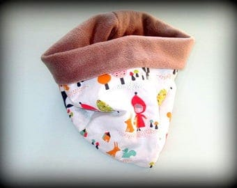 "snood, neck, neck warmer original girl little Red Riding Hood ""one size 5 to 12"""