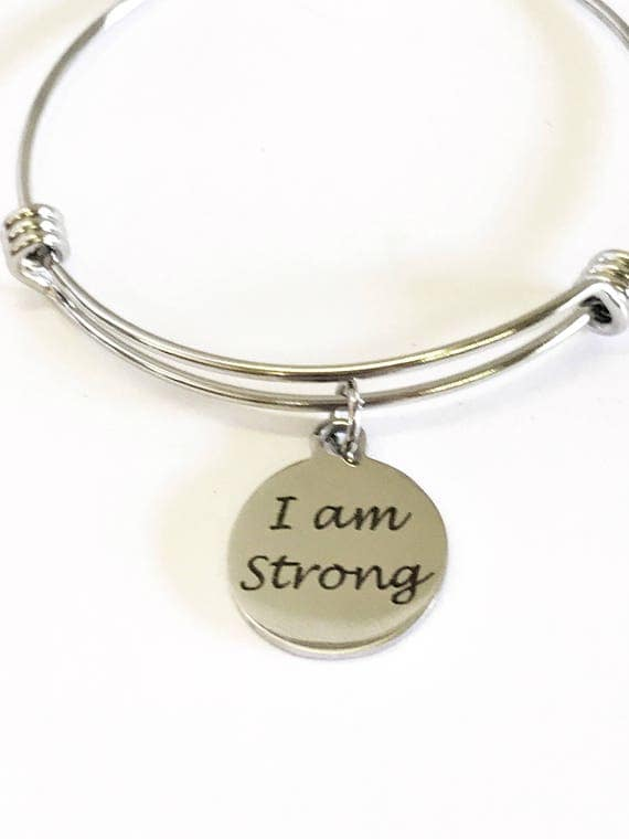 I Am Strong Expanding Bangle Charm Bracelet, Strong Woman Jewelry Gift for Her, Exercise Jewelry, Pamper Yourself, Motivational Jewelry