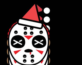 Mask with christmas hat     3.5 Inches White Vinyl  Sticker Decal Laptop Car Bumper Sticker