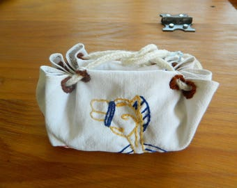 Purse embroidered linen with runes