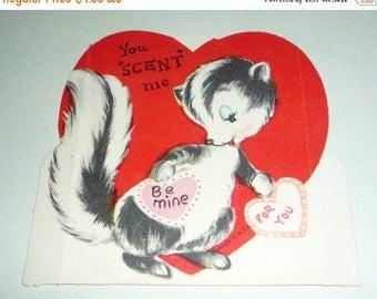 """ON SALE till 7/28 You """"Scent"""" Me - Cute Vintage Skunk Valentine"""