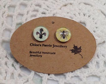Stud Earrings - French Fleur de Lis Beetle, Altered Art Earrings, Silver Plated Earrings, Unique Stud Jewellery