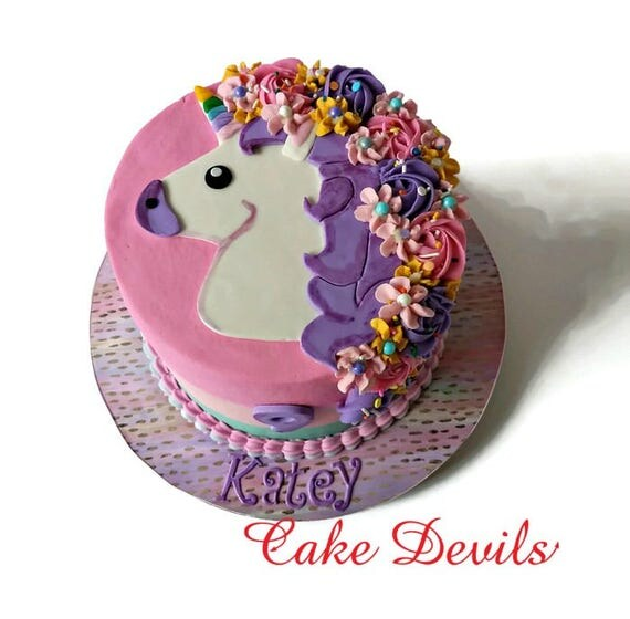 Unicorn Cake Topper Fondant Unicorn head Unicorn Party Flat