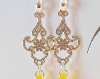 Lemon chandelier earrings