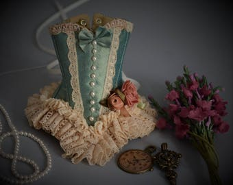 Sea Green Silk Corset for Enchanted Doll, Angelika Balan, Popovy, Blythe BJD-  Made to Order (Please state size when ordering)
