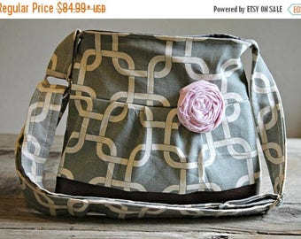 CHRISTMAS SALE Small Messenger Bag, Grey Nautical, Conceal Carry Handbag, Concealed Carry Purse, Conceal and Carry, Messenger Bag