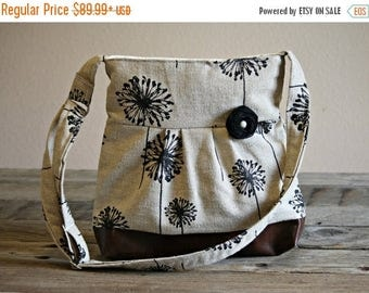 CHRISTMAS SALE Concealed Carry Purse, Medium Messenger Bag, Black Dandelion, Conceal Carry Handbag, Concealed Carry Purse, Conceal and Carry