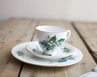Royal Imperial Lily of the Valley Bone China Tea set, Pretty Cup & Saucer, Tea lover Gift, Christmas Gift, CoWorker Gift, Housewarming Gift