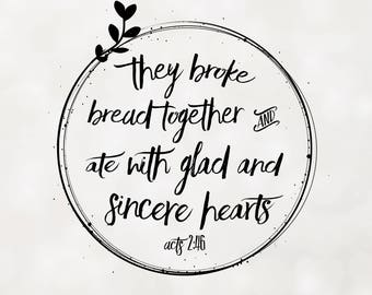 Acts 2:46 Scripture Wall Art