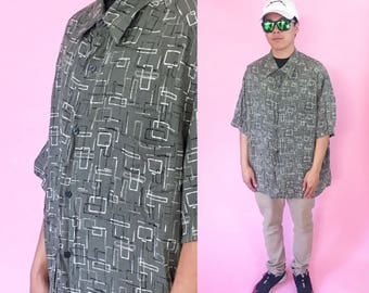 Vintage shirt size xl green black abstract patterned all over print cross colours fubu karl kani 90s 80s 1990s 1980s