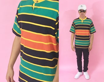Henley tshirt vintage gant size large 1990s 1980s 90s 80s striped tshirt guess north face timbaland