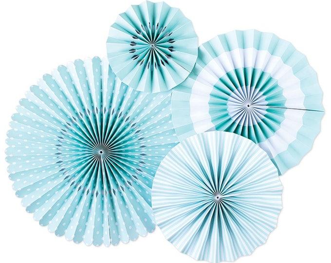 Party Fans in Sky Blue, Light Blue Pom Wheel, Baby Blue Rosettes Baby Blue Paper Medallions, Sky Blue Paper Fans, PLCP04, Paper Pinwheel