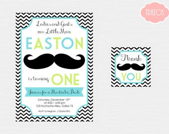 Mustache Invitation - Mustache Thank You Tags - Printable Mustache Invitation - Mustache Birthday