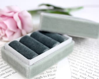 Velvet Ring box in Vintage Style Ombré Grey, Vintage Velvets. Wedding Ceremony and Jewelry Storage